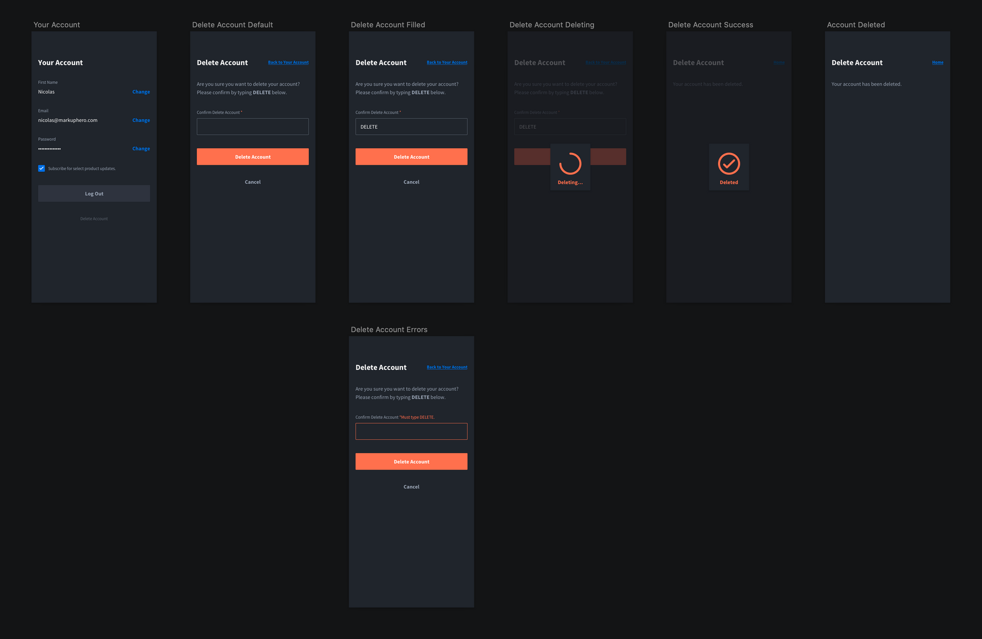 User management: delete your account flow / design from Markup Hero