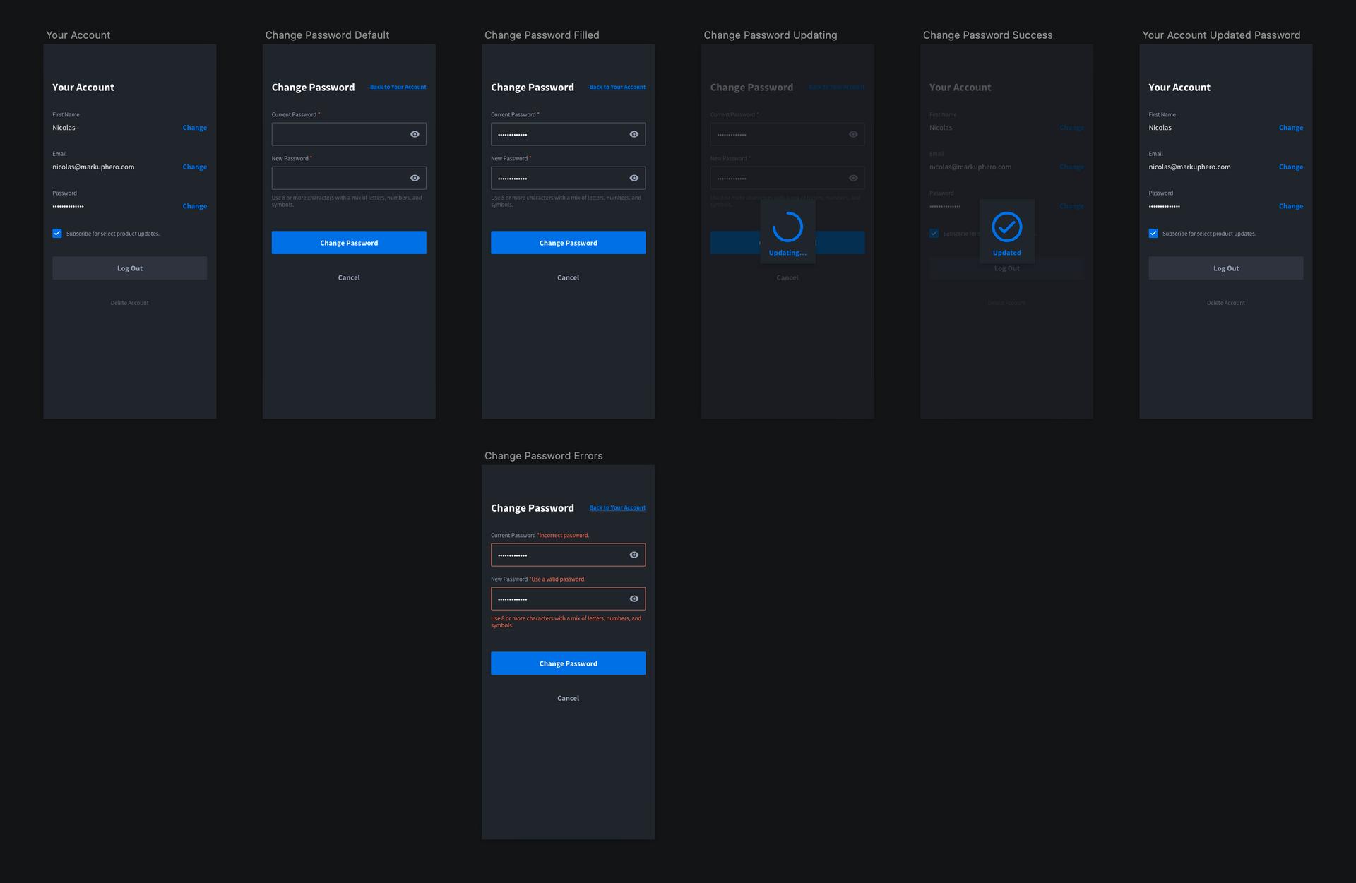 User management: change your password flow / design from Markup Hero