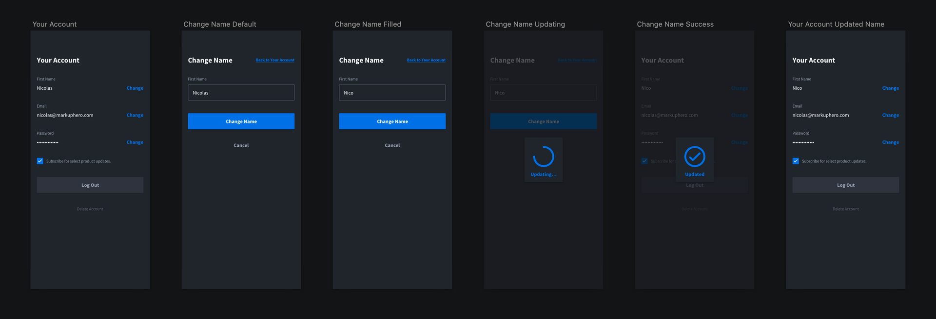 User management: change your name flow / design from Markup Hero