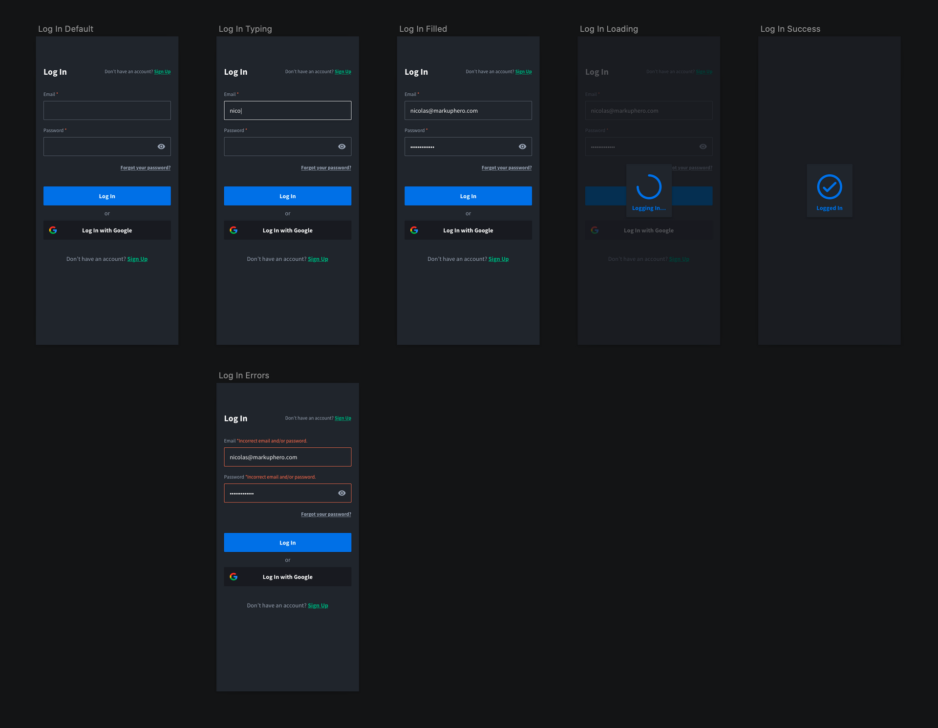 Sign in / log in flow designs from Markup Hero
